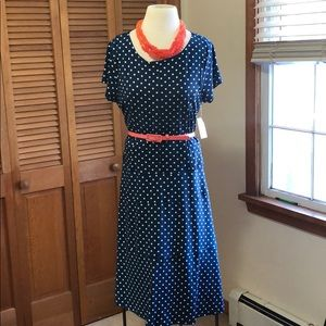 NWT navy white polka dot stretch career dress